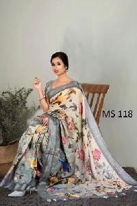 Print Linen Saree