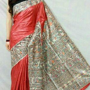 Tussar Ghicha With Madhubani Hand Print Silk Saree