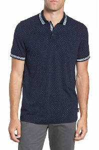 Mens Navy Blue Collar T-shirt