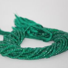Green Onyx Gemstone Faceted Rondelle Beads