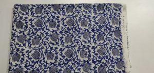 2.5 meter blue Flower Print Hand block Printed Cloth Cotton Fabric