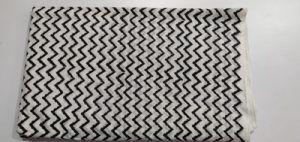 .5 meter black line Flower Print Hand block Printed Cloth Cotton Fabric