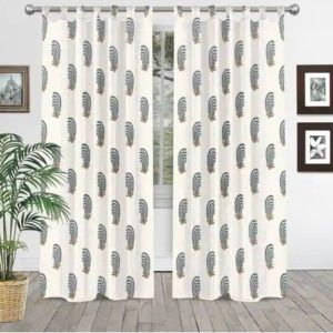 Anchor Print Curtains Indian Hand Block Printed Cotton Shower Curtain