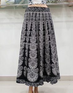 Black Bagru Printed Belly Dance Women Full Skirt Sanganeri Hand Block Indian Ghagra