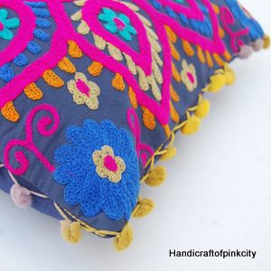 Cotton Suzani Boho Throw Floral Embroidery Pillow Cushion Cover