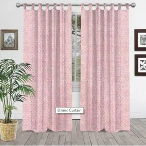Curtains Pink Color Curtains Indian Hand Block Printed Cotton Shower Curtain
