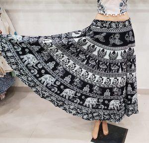 Elephant Print Black Cotton Mandala Women Skirt Rapron Bagru Long Wrap Round Ghagra