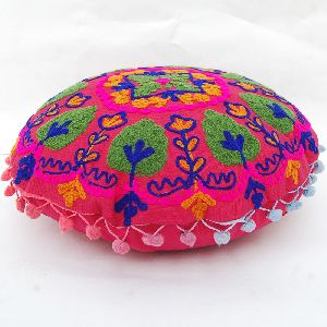Embroidered Suzani Pom Pom Cushion Cover Round Pillow Case