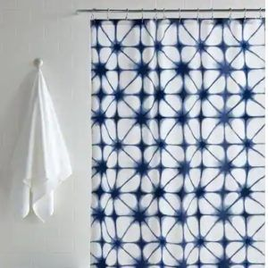 Green Palm Pure Cotton Voile Indian Hand Block Printed Cotton Shower Curtain