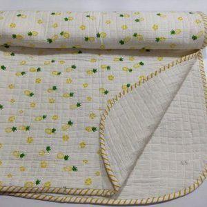 Hand Block Panyapal Fruit Print Baby Kantha Quilt Wrap Blanket