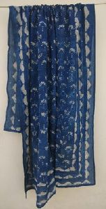 Hand Block Print Sarong, Cotton Blue Brown Colour Mix Flower Dupatta Stole Women Party Wear Stole