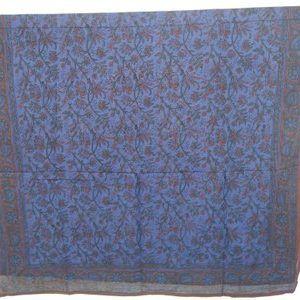 Hand Block Print Sarong, Cotton Blue Brown Mix Dupatta Stole