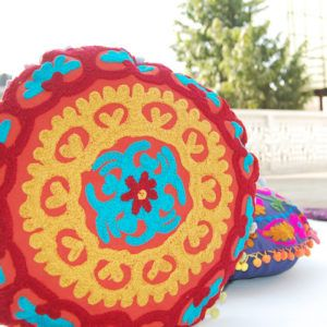 Hand Embroidered Suzani Cushion Cover Round Pillow Case Indian Design Sofa Decor