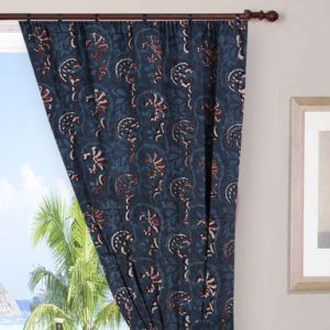Indigo Blue Curtains Cotton Voile Indian Hand Block Printed Cotton Shower Curtain Doo