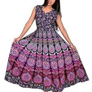 Traditional Hand Made Kurti Barmeri Mandala Print Anarkali Dress Pink Color