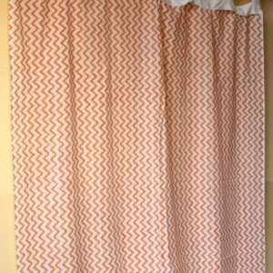 Zig Zag Pure Cotton Voile Indian Hand Block Printed Cotton Shower Curtain