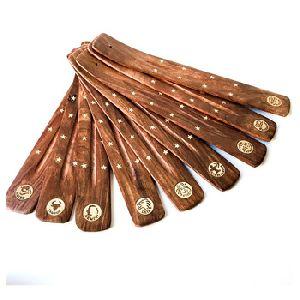 Wood Brass Inlay Zodiac Incense Burner
