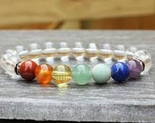 Crystal Quartz 7 Chakra Beads Bracelet