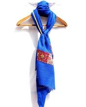 Embroidered Kashmir Warm Lambswool Ink Blue Stole