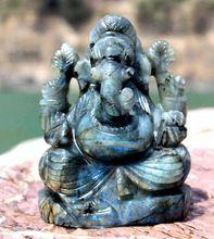 Labradorite Premium Stone Carved Handmade Lord Ganesha Statue
