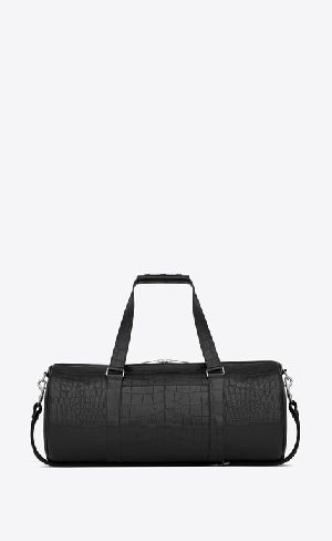 Noã© Gym Bag In Black Crocodile Embossed Leather