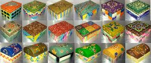 Hand Painted Gift Boxes Colored Bone