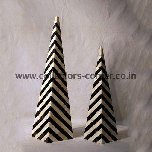 Camel Bone And Horn Inlaid Pyramids