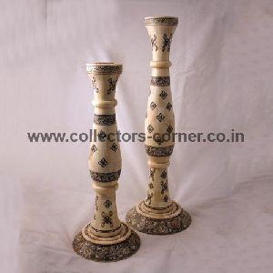 Camel Bone Painted Candle Sticks