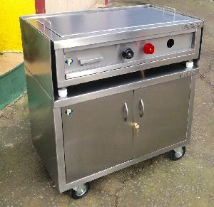 Stainless Steel Hot Plate On Trolley