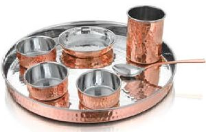 Copper And Stainless Steel Thali Set