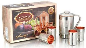 Copper And Stainless Steel Veracity Plus Glass And Jug Set