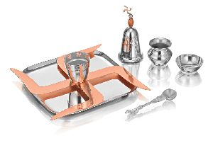 Stainless Steel And Brass Puja Set