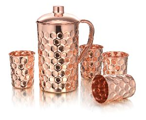 Veracity Hammered Copper Diamond Glass And Jug Set
