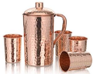 Veracity Hammered Copper Glass And Jug Set