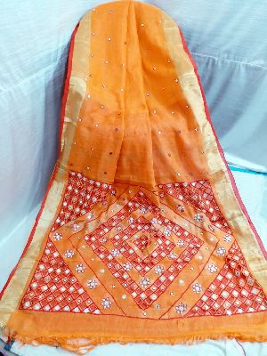 Handloom Pure Linen Cut Work Saree