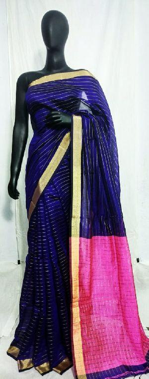 Handloom Pure Zari Strip Contrast Pallu Saree