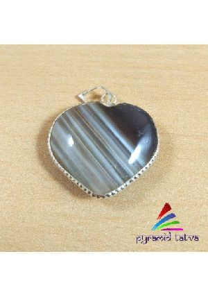 Banded Agate Heart Pendant
