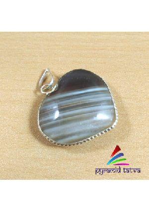 Banded Agate Heart Pendant