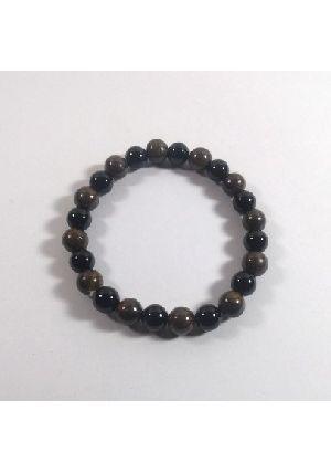 Black + Bronzite Beads Bracelet