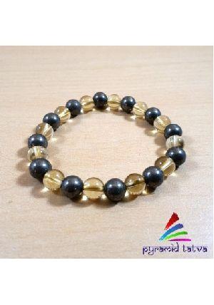 Citrine Pyrite Bead Bracelet