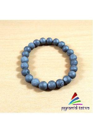 Druzy Agate Blue Bead Bracelet