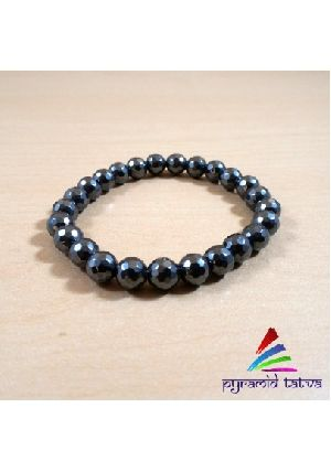 Hematite Diamond Cut Bead Bracelet