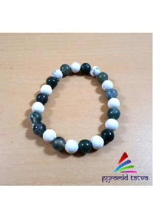 Howlite With Moss Agate Bead Bracelet