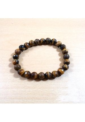 Tiger Eye Diamond Cut Beads Bracelet