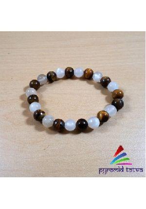 Tiger Eye With Rainbow Moonstone Bead Bracelet