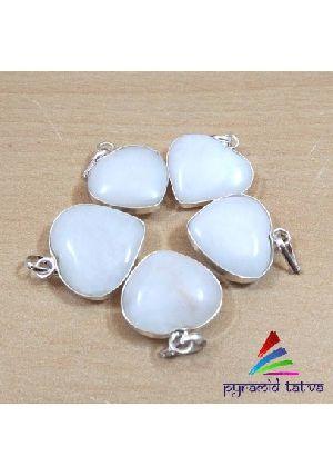 White Agate Heart Pendant