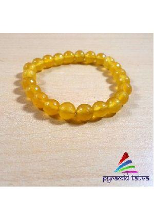 Yellow Onyx Diamond Cut Bead Bracelet