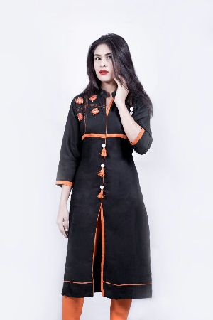 Rayon Black Mirror Work Kurti