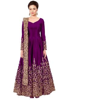 Awesome Pink Tafeta Silk Anarkali Salwar Suit At Yoyo Fashion