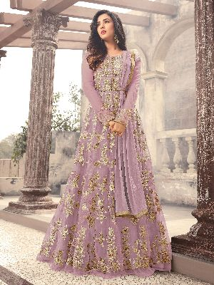 Designer Embroidered Net Purple Anarkali Salwar Suit